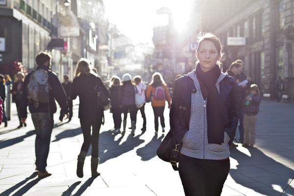 Lone woman walking 600 x 400
